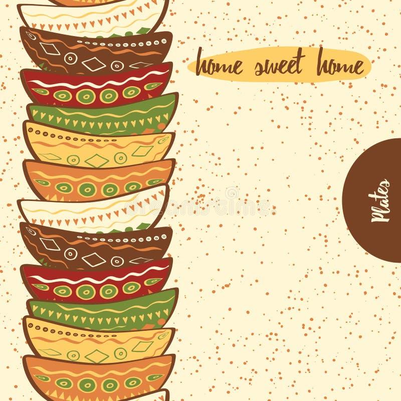 Beira sem emenda da cozinha com a mão que tira as placas coloridas bonitos feitas no estilo da garatuja ilustração do vetor