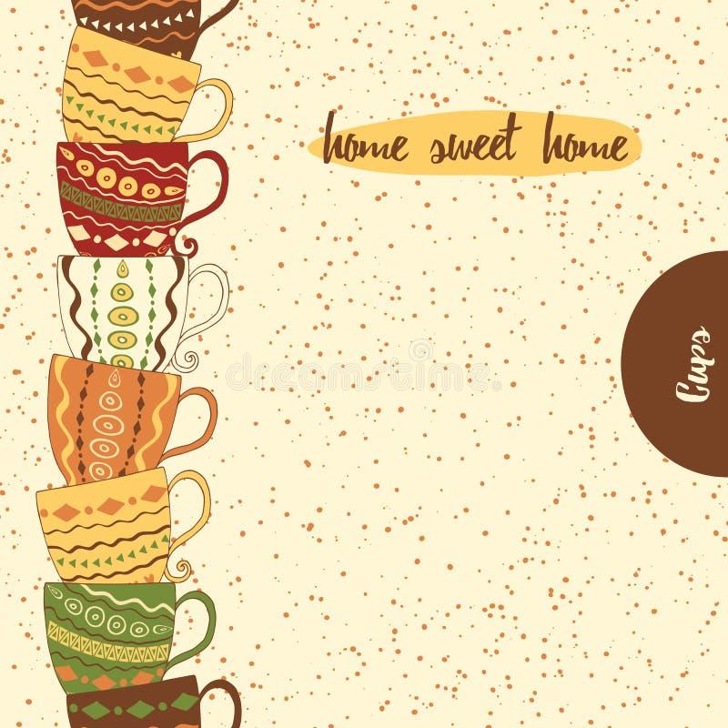 Beira sem emenda da cozinha com a mão que tira os copos coloridos bonitos feitos no estilo da garatuja ilustração stock