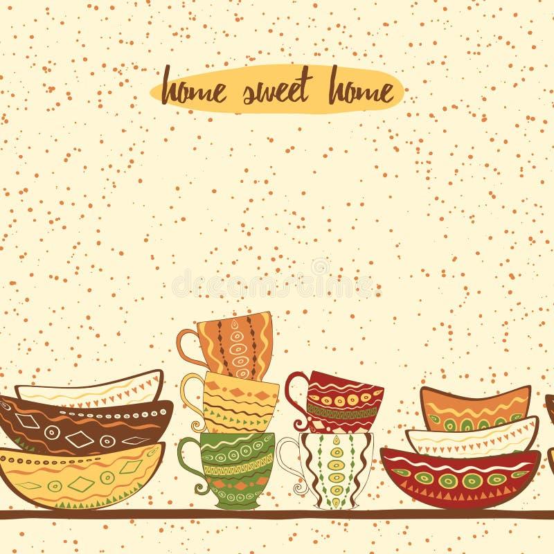 Beira sem emenda da cozinha com a mão que tira placas coloridas bonitos e copos feitos no estilo da garatuja ilustração stock