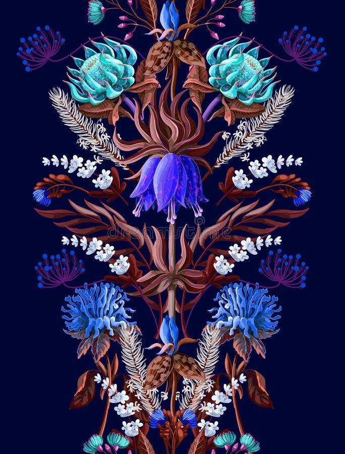 Beira sem emenda da simetria com as flores tropicais na cor azul Ilustração do vetor ilustração do vetor