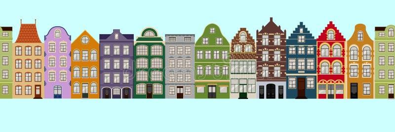 Beira sem emenda das casas retros bonitos exteriores Coleção de fachadas europeias da construção Arquitetura tradicional de ilustração do vetor