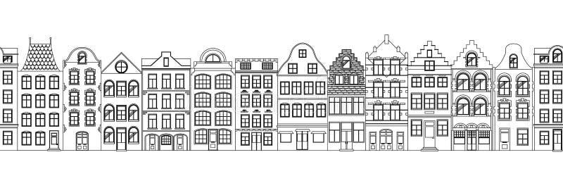 Beira sem emenda das casas retros bonitos exteriores Coleção de fachadas europeias da construção Arquitetura tradicional de ilustração royalty free