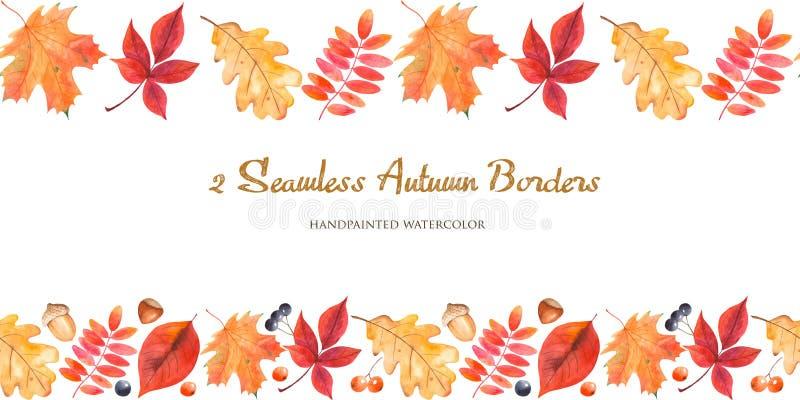 beira sem emenda de 2 aquarelas com folhas de outono, bagas, porcas, bolotas ilustração stock