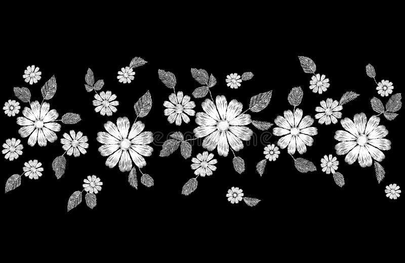 Beira sem emenda do bordado branco da flor do laço Molde costurado decoração da textura da forma Margarida tradicional étnica ilustração stock