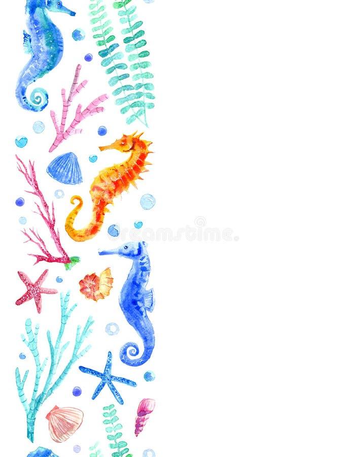 Beira sem emenda do cavalo marinho, do shell, da estrela do mar, do coral e das bolhas ilustração royalty free