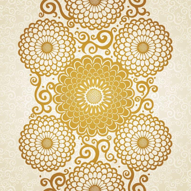 Beira sem emenda dourada com as grandes flores e ondas. ilustração royalty free