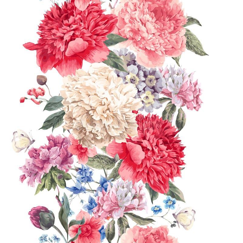 Beira sem emenda floral do vetor do vintage ilustração royalty free