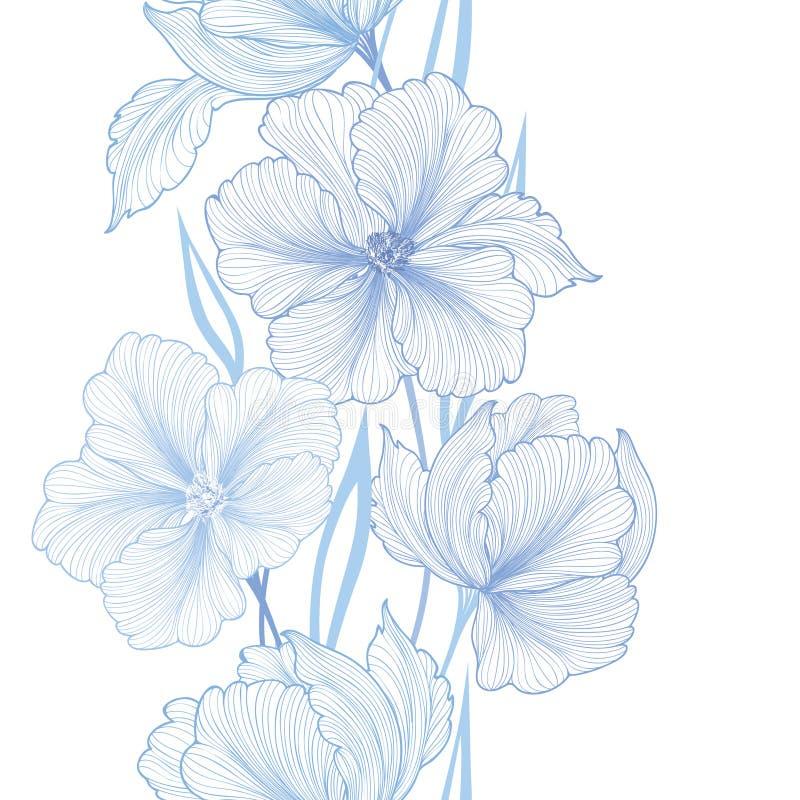 Beira sem emenda floral Flowerbackground com wildflower ilustração do vetor