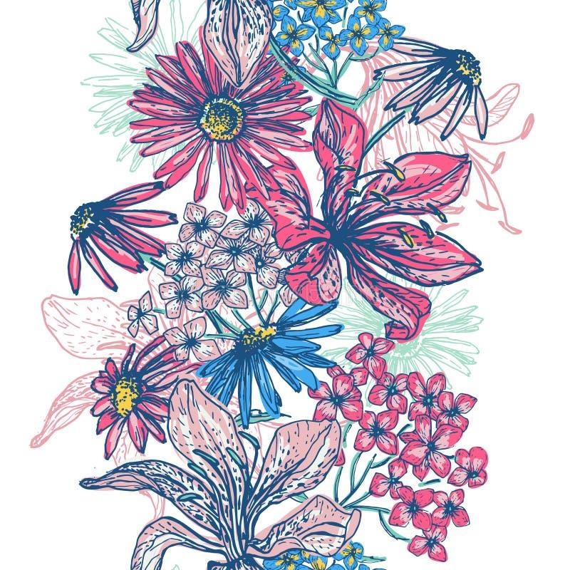 Beira sem emenda floral retro macia ilustração royalty free