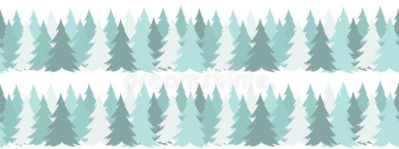 Beira sem emenda horizontal com as árvores verdes do Natal no fundo branco no estilo liso simples Para o projeto do ano novo ilustração stock