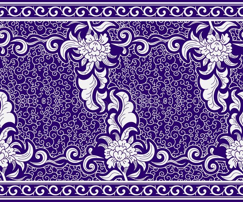 Beira sem emenda no estilo chinês Teste padrão floral horizontal azul Ornamento em motriz da pintura na porcelana ilustração royalty free