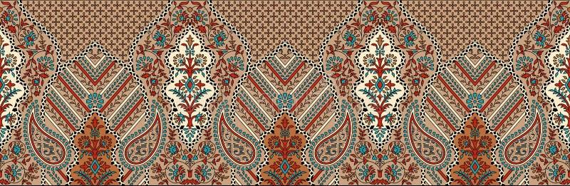 Beira sem emenda tradicional de paisley do indiano ilustração stock