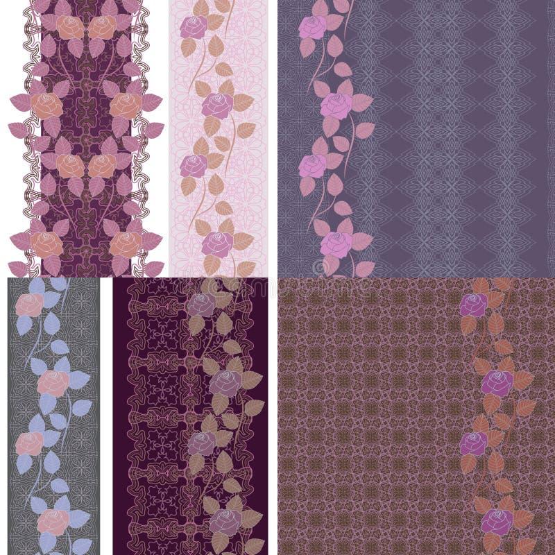 Beira sem emenda vertical do laço - teste padrão natural com rosas ilustração do vetor