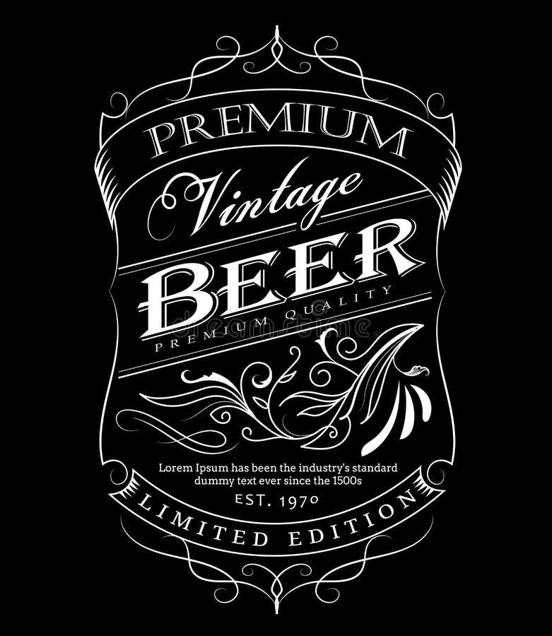 Beira tirada da tipografia do quadro-negro do quadro da etiqueta da cerveja mão ocidental ilustração royalty free