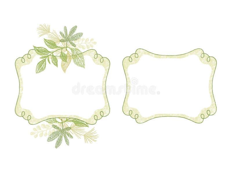 Beira tirada mão do ramo com elementos florais ilustração royalty free