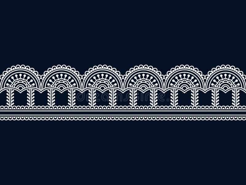 Beira tradicional do indiano sem emenda do vetor molde sem emenda no painel da amostra de folha projeto para a c?pia, quadro, blo ilustração stock