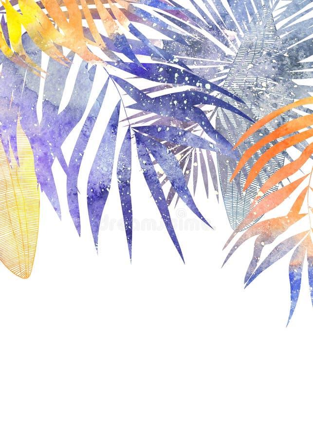 Beira tropical das folhas originais violetas e da laranja ilustração do vetor