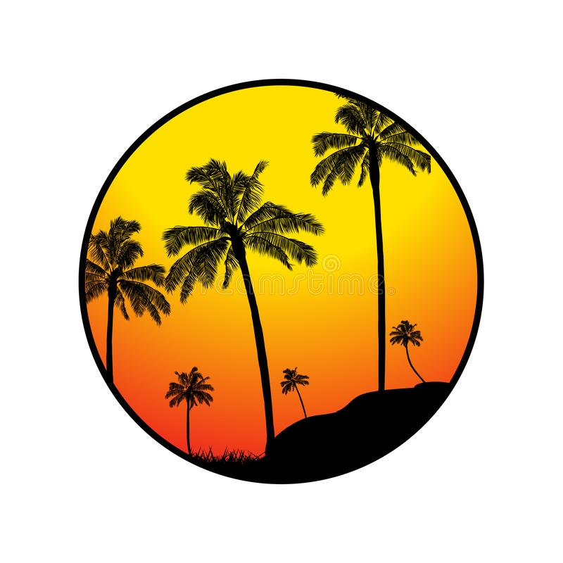 Beira tropical do verão com silhueta das palmeiras ilustração stock
