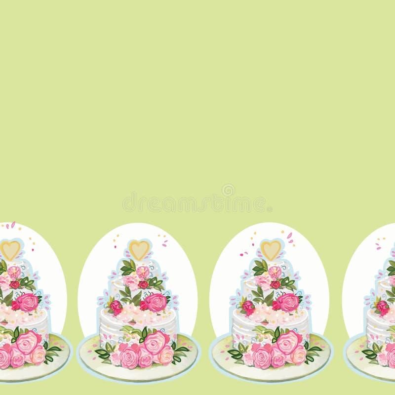 Beira verde com bolo e flores de casamento ilustração royalty free