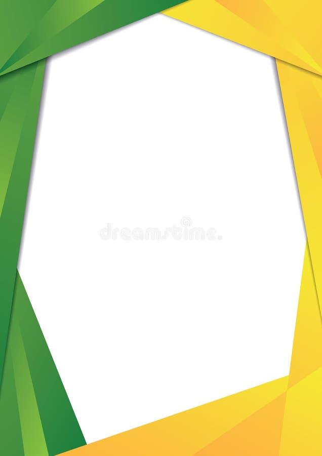 Beira verde e amarela do quadro do triângulo ilustração stock