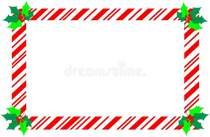 Beira vermelha do bastão de doces do Natal com azevinho ilustração royalty free