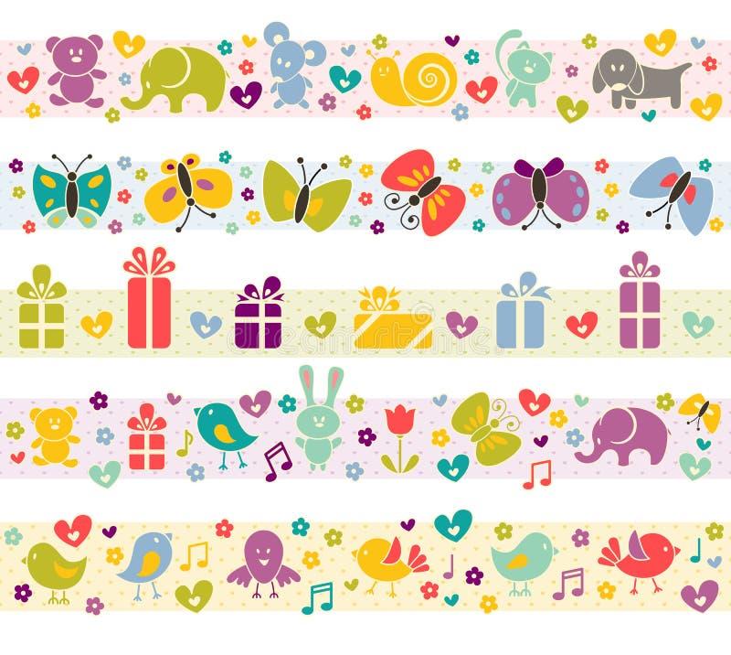 Beiras bonitos com ícones do bebê. ilustração stock