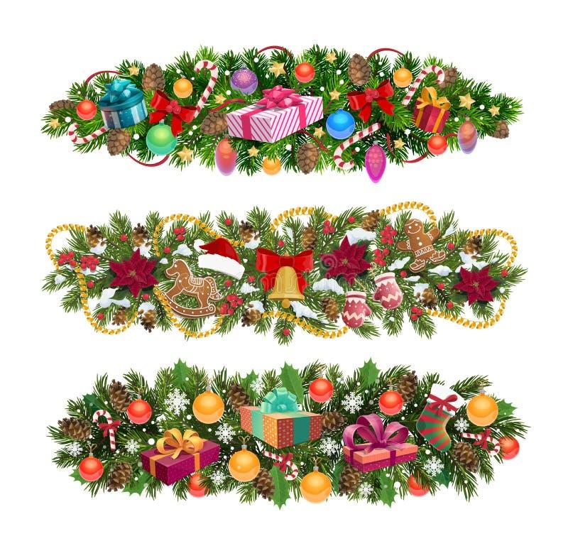 Beiras da árvore de Natal, vetor do feriado ilustração royalty free