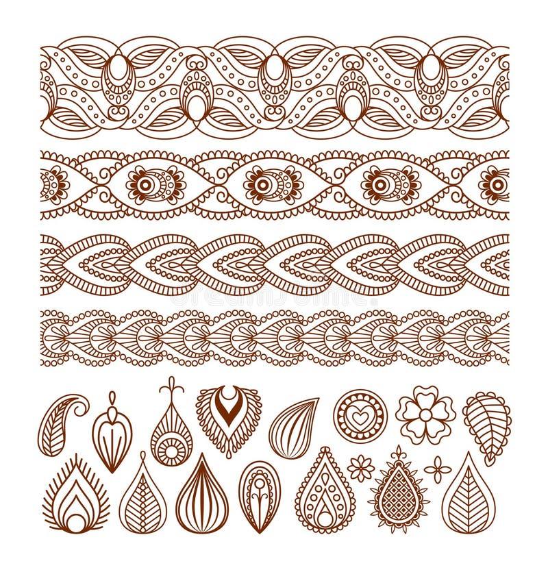 Beiras da hena e elementos sem emenda de paisley ilustração stock