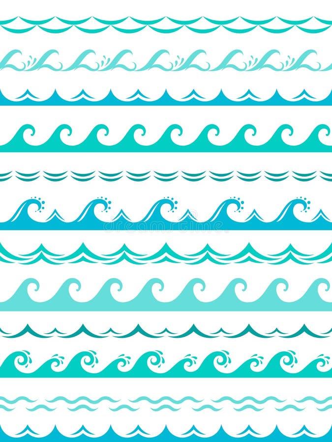 Beiras da onda do mar Vetor horizontal do quadro dos elementos de superfície ondulados sem emenda da silhueta do respingo da água ilustração stock
