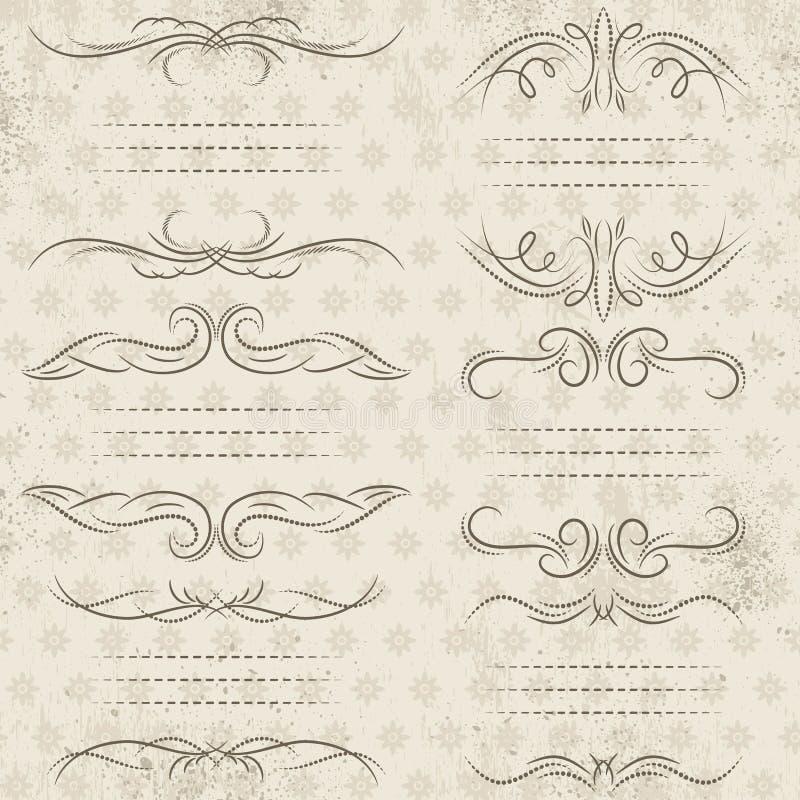 Beiras decorativas da caligrafia, regras decorativas, divisores ilustração stock
