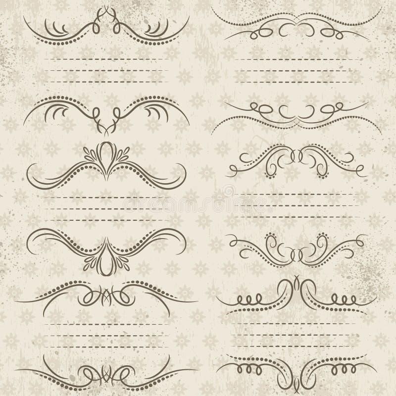 Beiras decorativas da caligrafia, regras decorativas, divisores ilustração do vetor