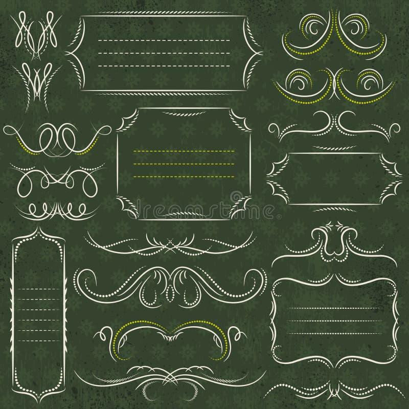 Beiras decorativas da caligrafia, regras decorativas, divisores, vect ilustração do vetor