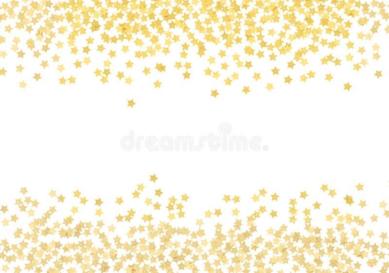 Beiras dispersadas dos confetes da forma da estrela do ouro fotografia de stock royalty free