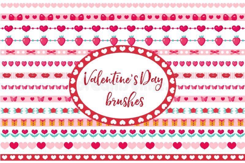Beiras do dia de Valentim ajustadas Coração bonito, ornamento das flores Isolado no fundo branco ilustração do vetor