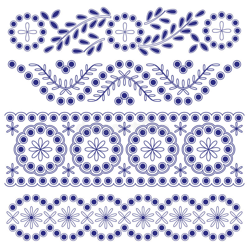 Beiras do ornamento floral ilustração do vetor