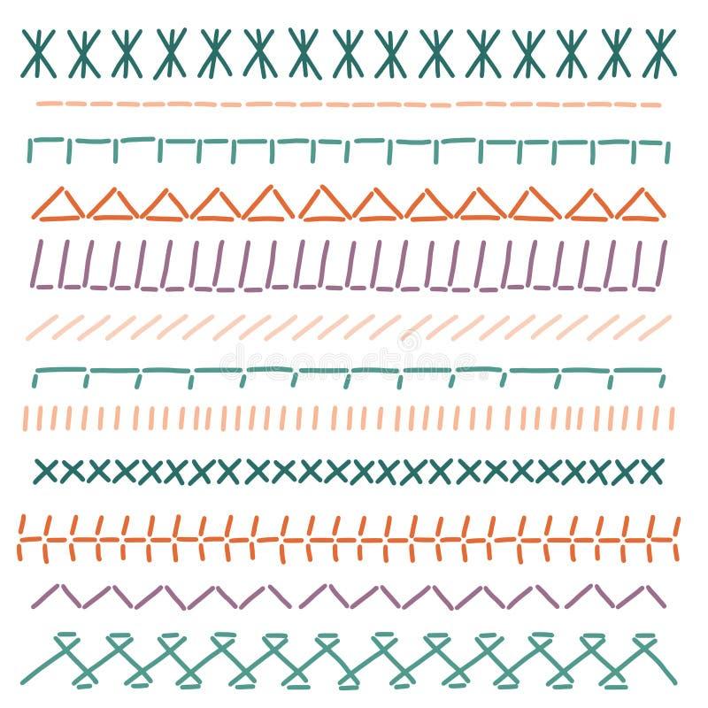 Beiras do ponto Emendas da costura da cor Vetor de pano do bordado ilustração royalty free