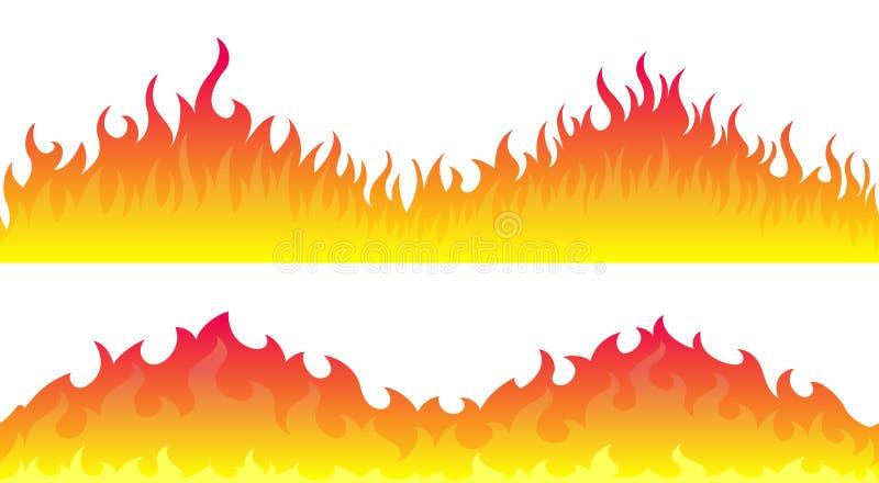 Beiras do quadro da chama do fogo ilustração stock