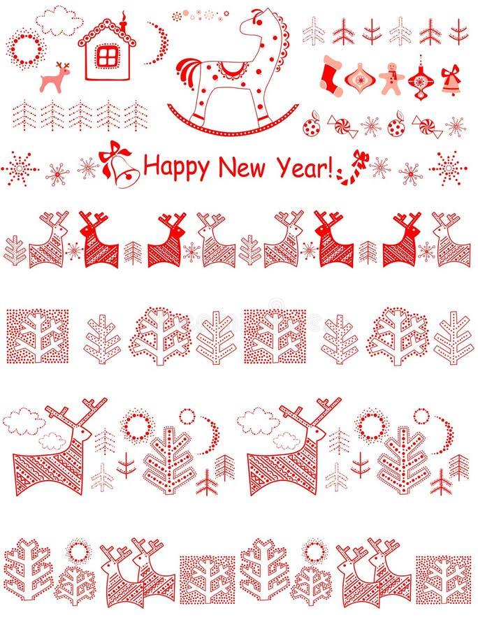 Beiras do vermelho do Natal ilustração stock