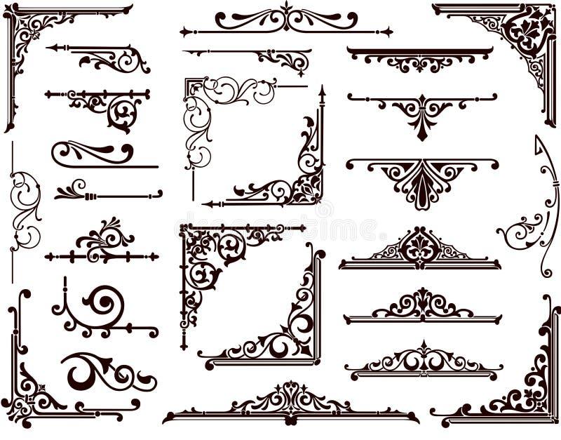 Beiras e cantos decorativos do projeto ilustração royalty free
