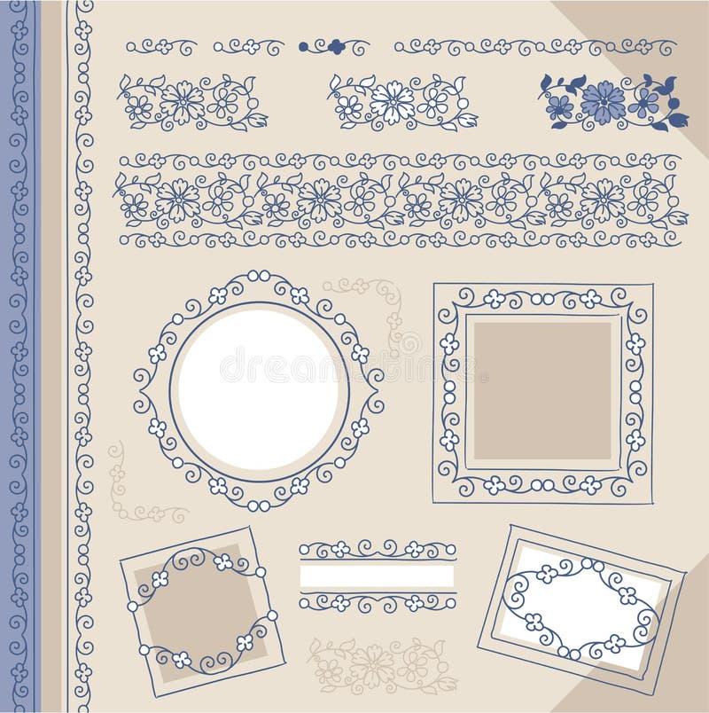 Beiras e frames florais ajustados do vintage ilustração stock