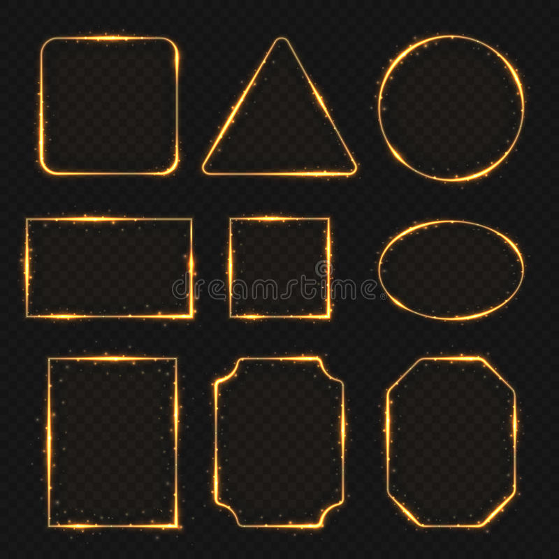 Beiras elétricas brilhantes de néon douradas do retângulo Glisten circularmente e bandeiras ovais ilustração stock