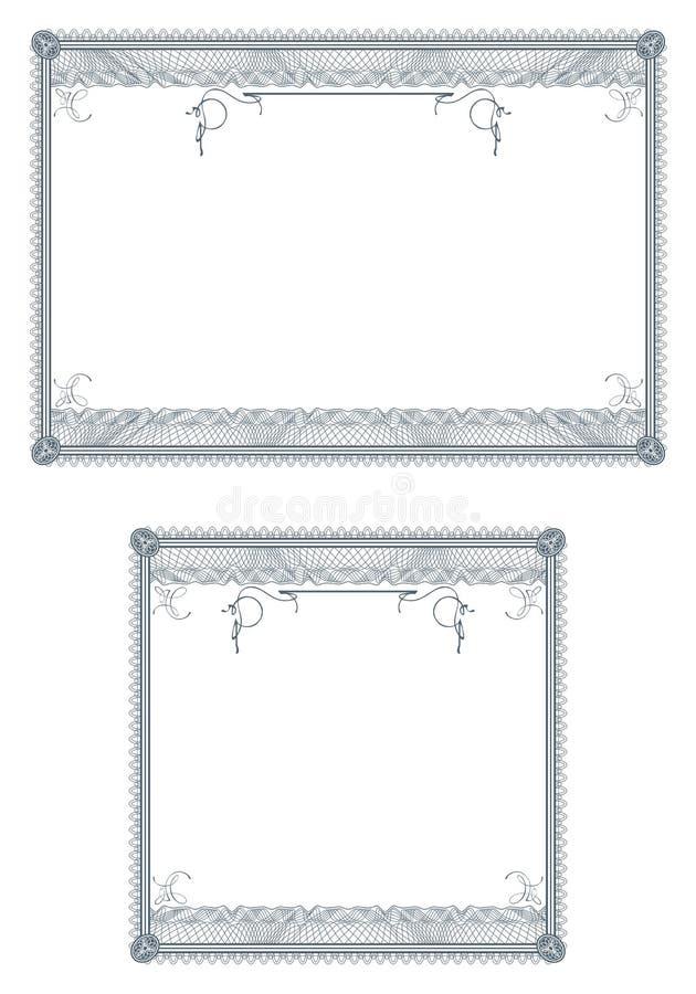 Beiras em branco do guilloche para o diploma ou o certificado ilustração do vetor