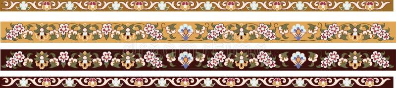 Beiras florais decorativas ilustração stock