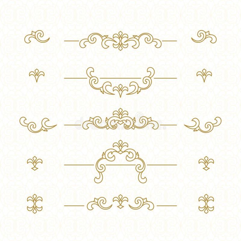 Beiras florais douradas ilustração royalty free