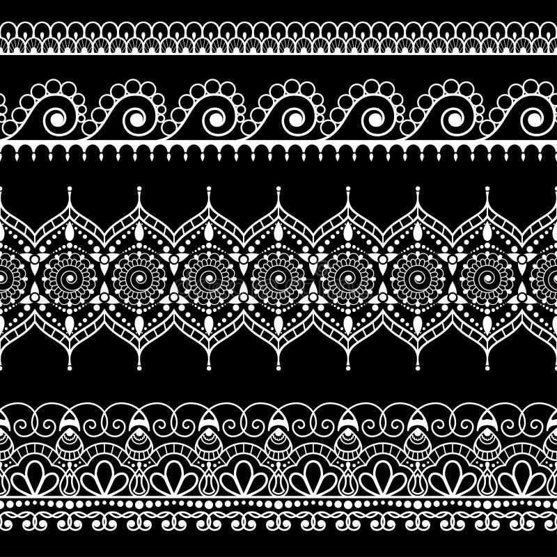 Beiras florais verticais pretas sem emenda decorativas no estilo do mehndi da hena para a tatuagem ou o cartão ilustração royalty free