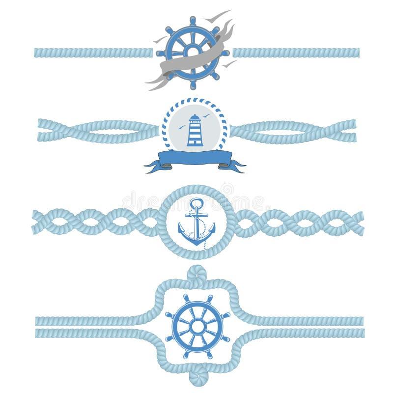 Beiras náuticas do vetor da corda Ilustração do quadro do projeto do vintage dos divisores ilustração royalty free