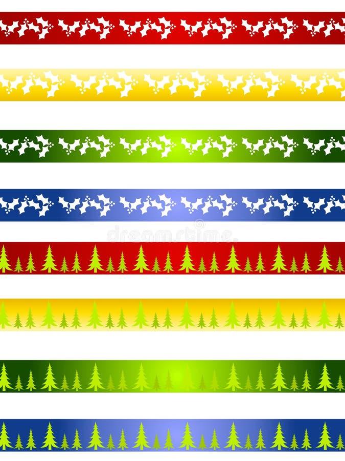 Beiras ou divisores decorativos do Natal ilustração do vetor
