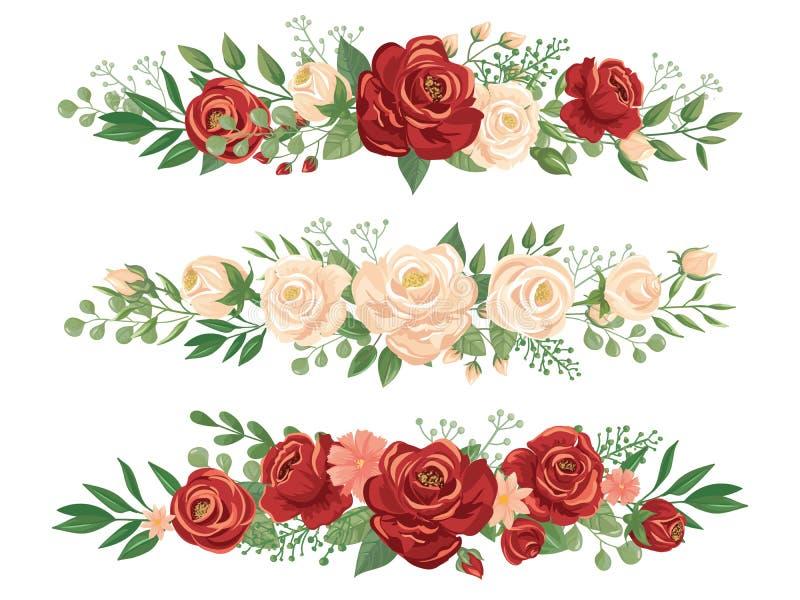 Beiras panorâmicos das flores Botão de Rosa, beira da flor e ilustração floral do vetor da bandeira do panorama do encabeçamento  ilustração do vetor