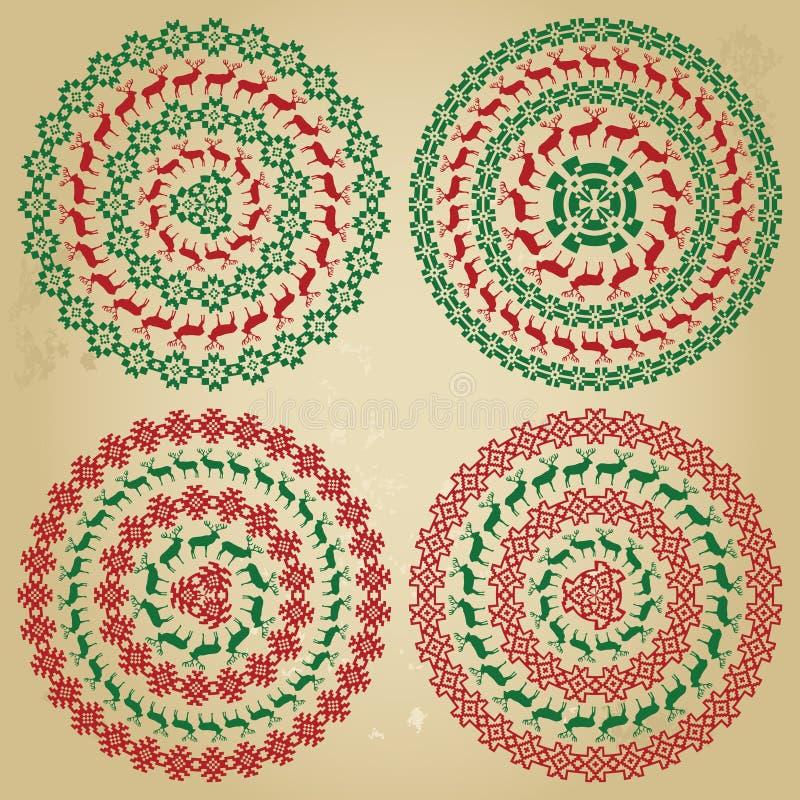Beiras redondas nórdicas do teste padrão do inverno na coleção ilustração do vetor