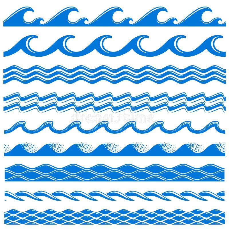 Beiras sem emenda do vetor de ondas da água do mar ajustadas ilustração stock
